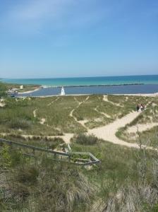 Little New Buffalo lighthouse behind the dunes